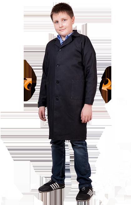 Черный Школьный халат для Труда и ИЗО