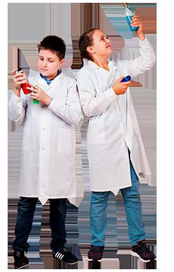 Белый халат детский маленького размера для химии