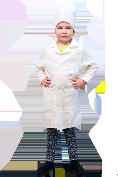 Белый халат для рисования и ИЗО для детей. Трудовичок.