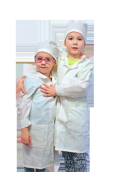 Белый халат для игры в больницу и доктора. Халат изобретателя