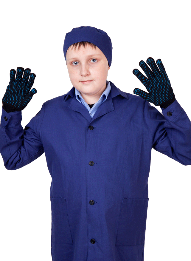 халат школьный с перчатками и шапочкой